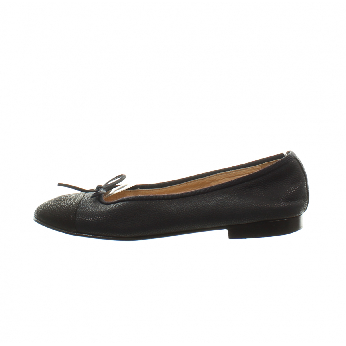 Chanel N Navy Leather Ballet flats for Women 37 EU