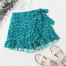 Culotte Shorts mit Bluemchen Muster, Raffung und seitlichem Band