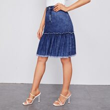 Raw Edge Frill Ruffle Hem Denim Skirt
