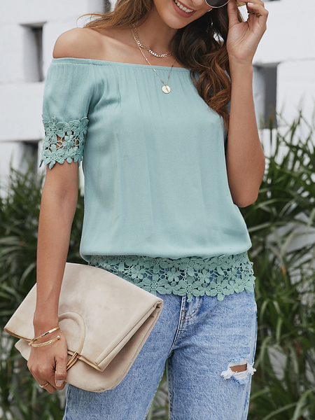 Yoins Green Lace Trim Off The Shoulder Short Sleeves Top