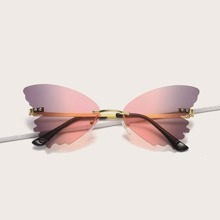 Rimless Butterfly Frame Sunglasses