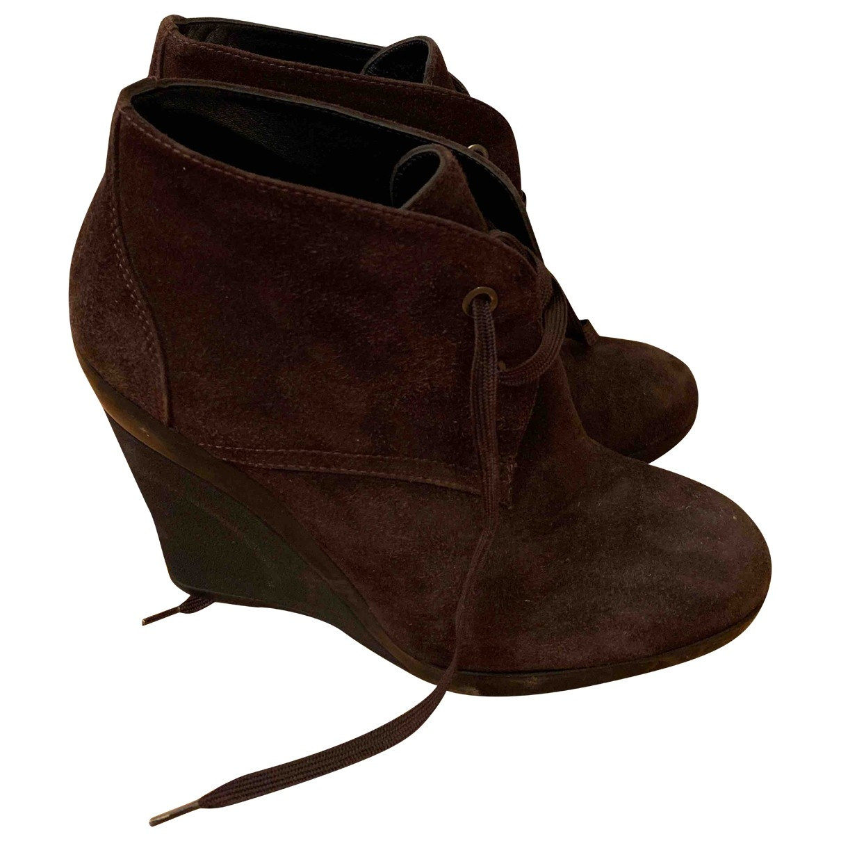 Hogan \N Brown Suede Ankle boots for Women 37 EU