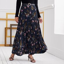 Floral Belted Maxi Pleated Skirt