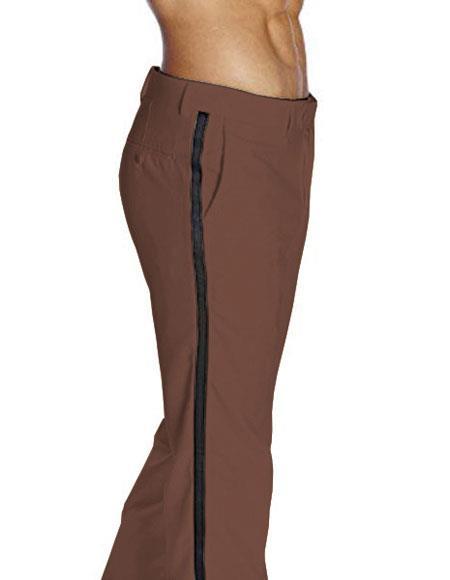 Men's Flat Front Satin BBrown Classic Fit Tuxedo Pant