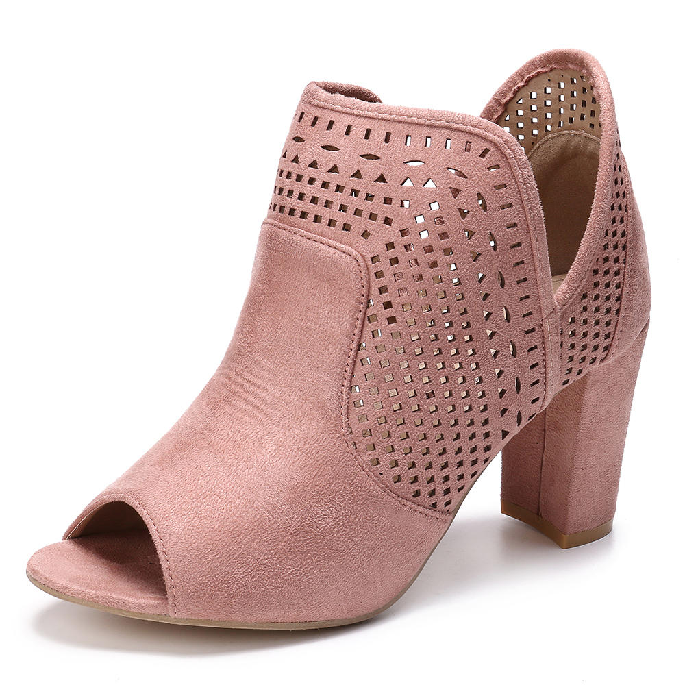 LOSTISY Women Hollow Out Peep Toe Slip On Causal Pumps