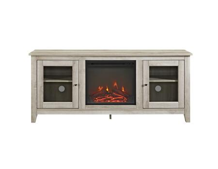 W58FP4DWWO 58 Wood Media TV Stand Console with Fireplace in White