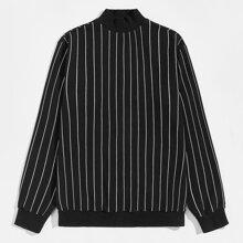 Pullover mit Stehkragen und Streifen Muster