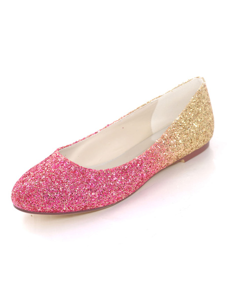 Milanoo Glitter Ballet Wedding Flats Blue Round Toe Wedding Shoes Women Prom Shoes