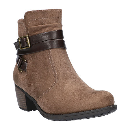 Easy Street Womens Annelisa Booties Block Heel, 8 1/2 Wide, Beige