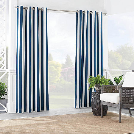 Waverly Solstice Stripe Light-Filtering Grommet-Top Single Curtain Panel, One Size , Blue