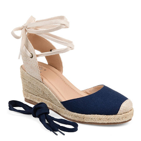 Journee Collection Womens Monte Lace-up Round Toe Espadrille Wedge, 11 Medium, Blue