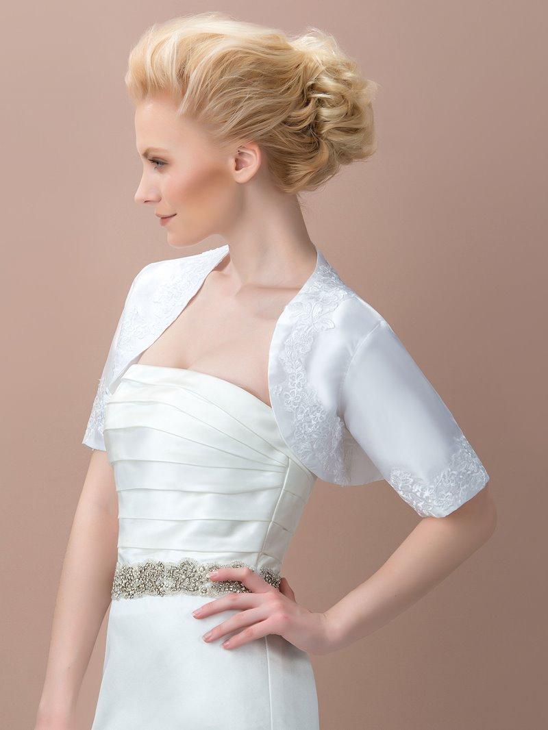 Ericdress Comfortable Satin Appliques Short Sleeves Wedding Jacket