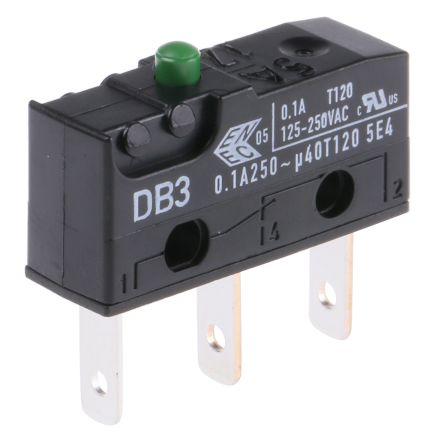 ZF SPDT-NO/NC Button Microswitch, 100 mA @ 250 V dc