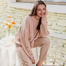 Knopfe  Einfarbig Laessig Pullover