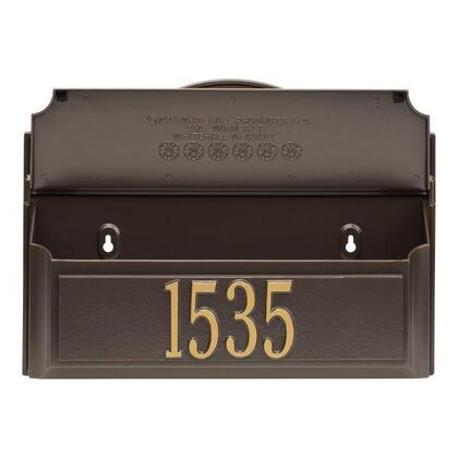11249 Colonial Wall Mailbox Set 1 with Mailbox  Plaque & Monogram with Alumi-Shield and Two keyhole-style mounting holes in Bronze and Gold