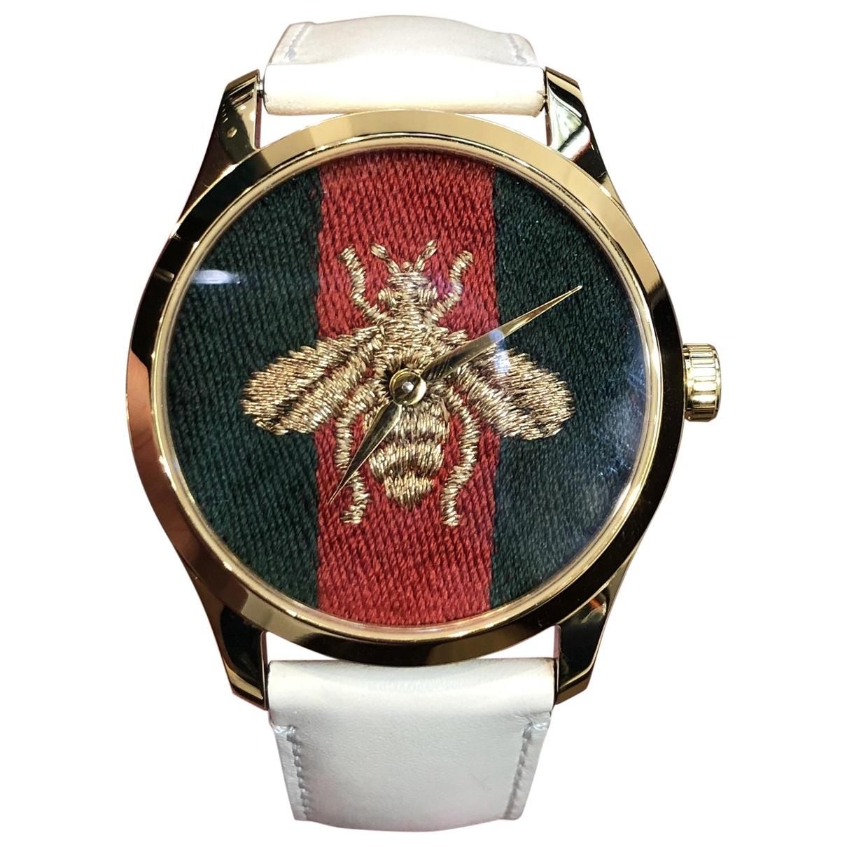 Gucci Le Marche des Merveilles Uhr in  Beige Stahl