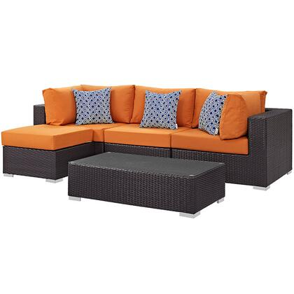 Convene Collection EEI-2362-EXP-ORA-SET 5-Piece Outdoor Patio Sectional Set with Two Corner Section  Armless Section  Ottoman and Coffee Table in