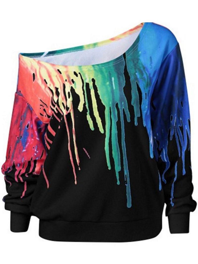Ericdress Loose Colorful 3D Print Oblique Collar Sweatshirt