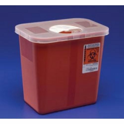 Sharps Container SharpSafety Nestable 4-1/2 H X 4-3/4 D X 4-3/4 W Inch 0.5 Gallon Red Base / White L - 1 Each by Cardinal