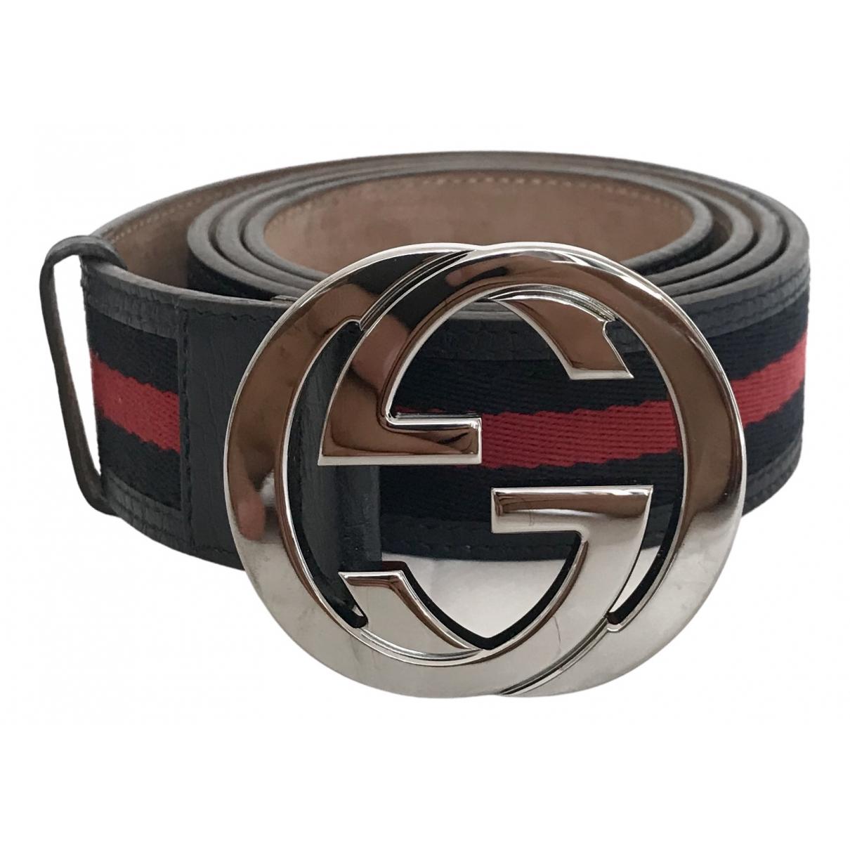 Gucci Interlocking Buckle Blue Leather belt for Men L international