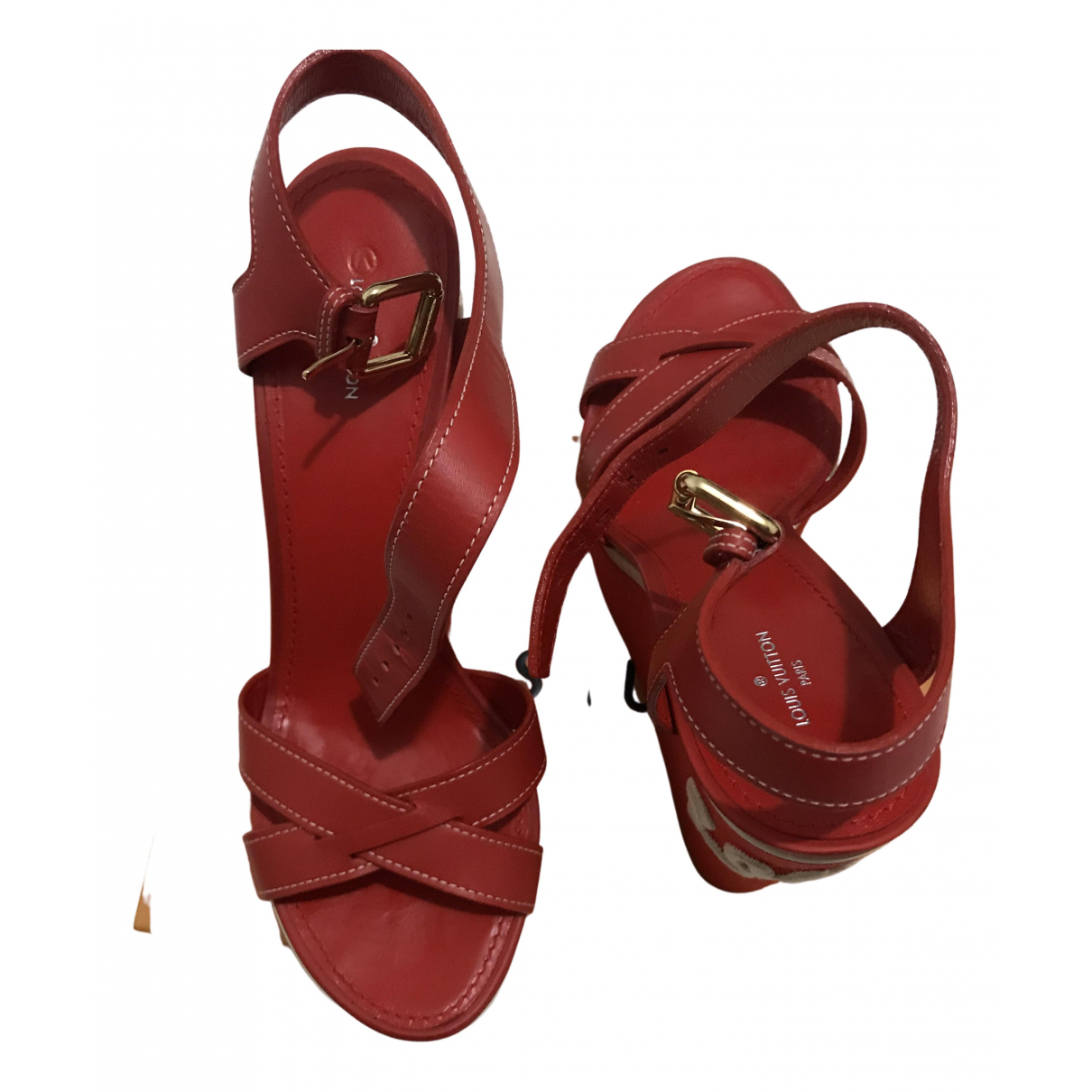 Louis Vuitton N Red Leather Sandals for Women 39.5 EU