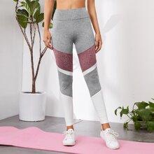 Leggings mit breitem Taillenband und Farbblock