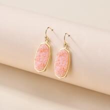 Pink Geometric Drop Earrings