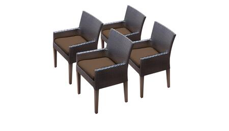 Belle Collection BELLE-TKC097b-DC-2x-C-COCOA 4 Dining Chairs With Arms - Wheat and Cocoa