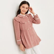 Girls Double Pearl Breasted Teddy Coat