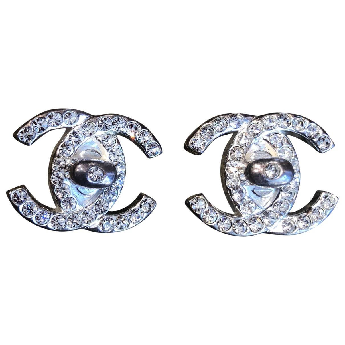 Chanel - Boucles doreilles CC pour femme en metal - metallise