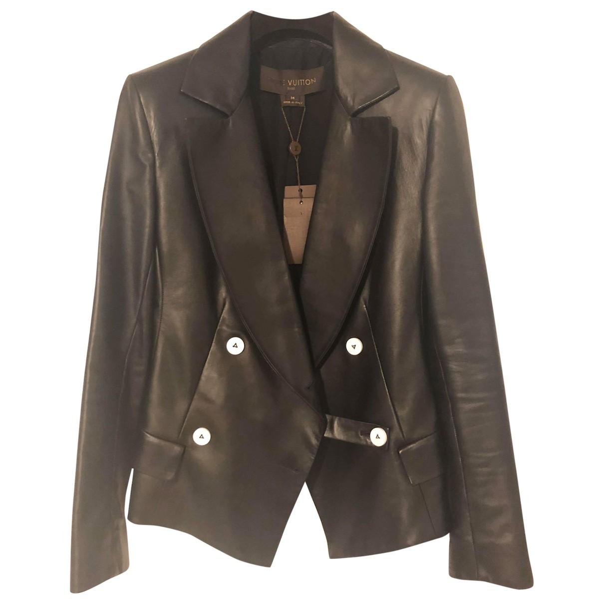 Louis Vuitton \N Jacke in  Schwarz Leder