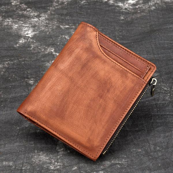 Men Genuine Leather 7 Card Slot Short Wallet Vintage Coin Purse