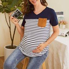 Maternidad camiseta de rayas de color combinado