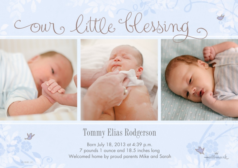 Baby Boy Announcements Flat Matte Photo Paper Cards with Envelopes, 5x7, Card & Stationery -Our Little Blessing - Blue