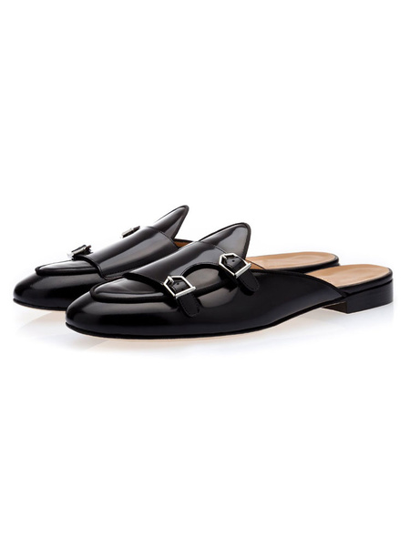 Milanoo Mens Mule Monk Strap Loafers Black Cowhide Slides Backless Slipper Shoes
