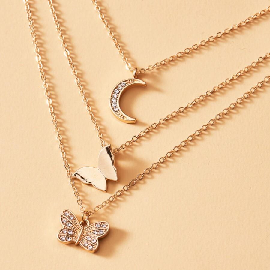 LW Lovely Stylish 3-piece Gold Necklace
