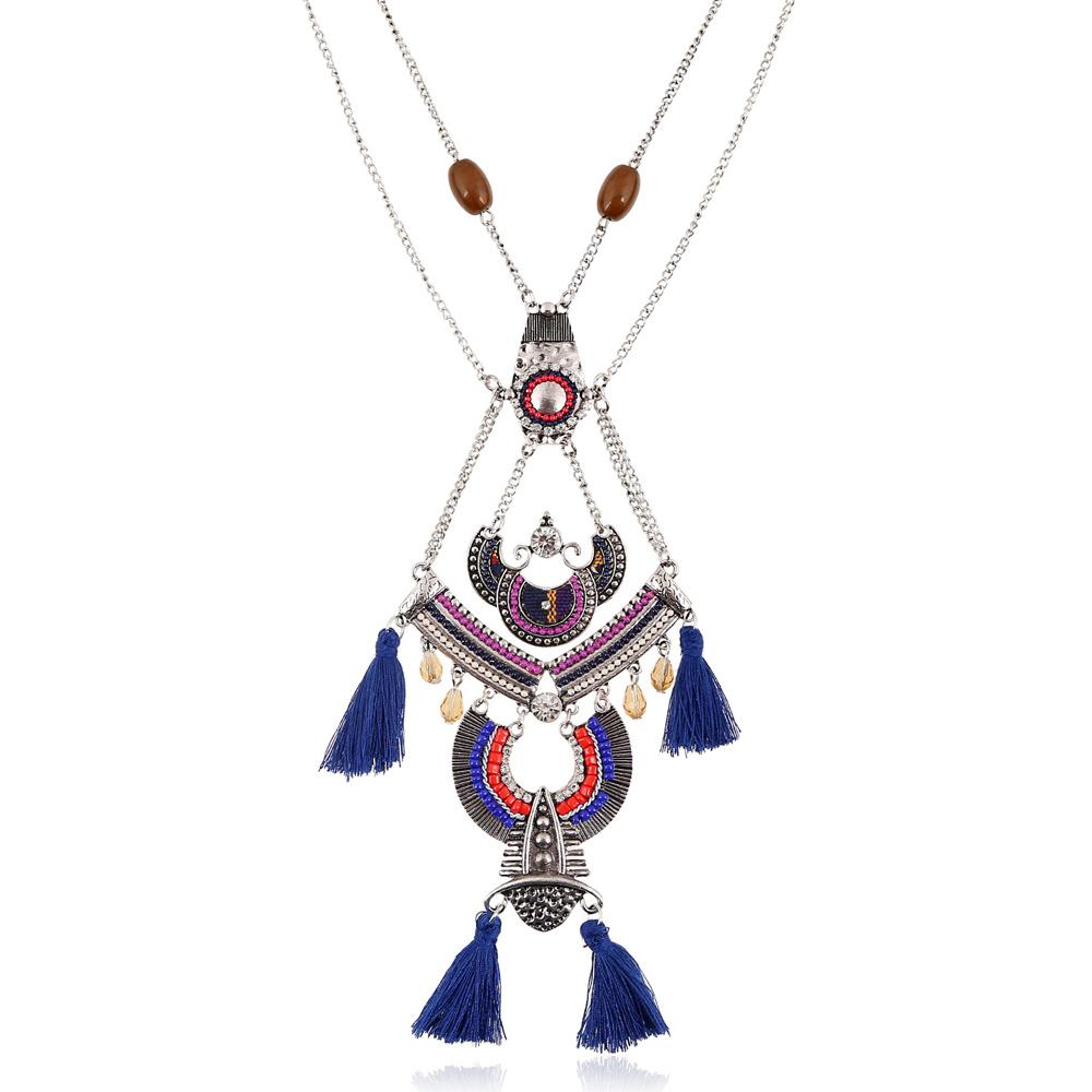Women' s Vintage National Style Tassel Pendant Necklace