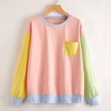 Pullover mit Cut und Sew und Taschen Flicken