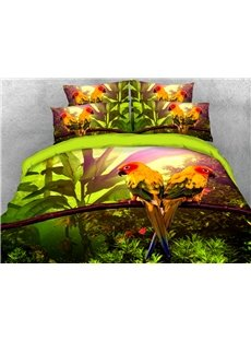 Two Parrots In The Forest 3D Printed 4-Piece Polyester Emerald Green Bedding Sets/Duvet Covers