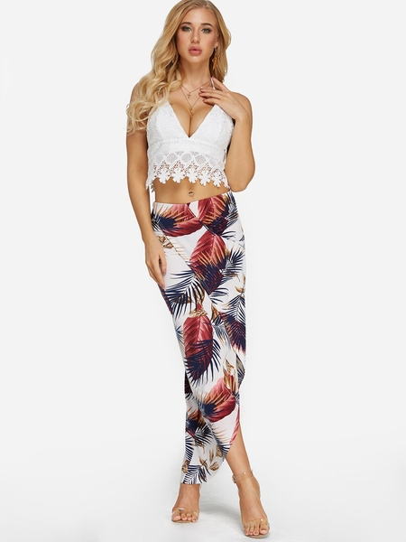 Yoins Lace Insert Crop Top & Slit Leaf Print Skirt Two Piece Outfits