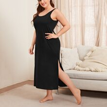 Plus Solid Side Split Night Dress