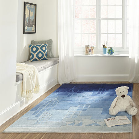 Momeni Lil Mo Urban Landscape Hand Tufted Rectangular and Round Rugs, One Size , Blue