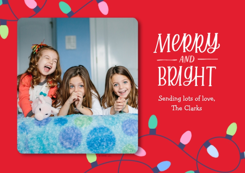 Christmas Photo Cards 5x7 Cards, Premium Cardstock 120lb, Card & Stationery -Merry & Bright String Lights Photo Card by Hallmark