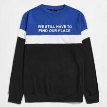 Men Slogan Graphic Colorblock Pullover