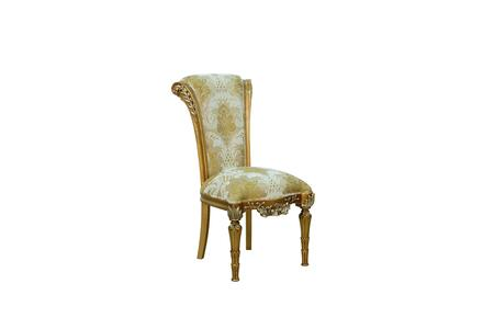 Maggiolini Collection Luxury Dining Side Chair with Damask Fabric Chair  Mahogany Wood Solid  Hand Carved & Handcrafted  in Antique Golden