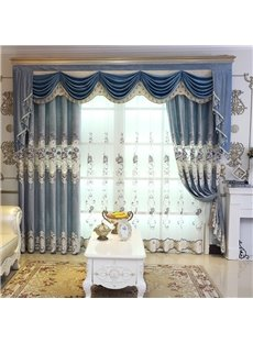 Elegant Floral Embroidered Semi Sheer Curtains