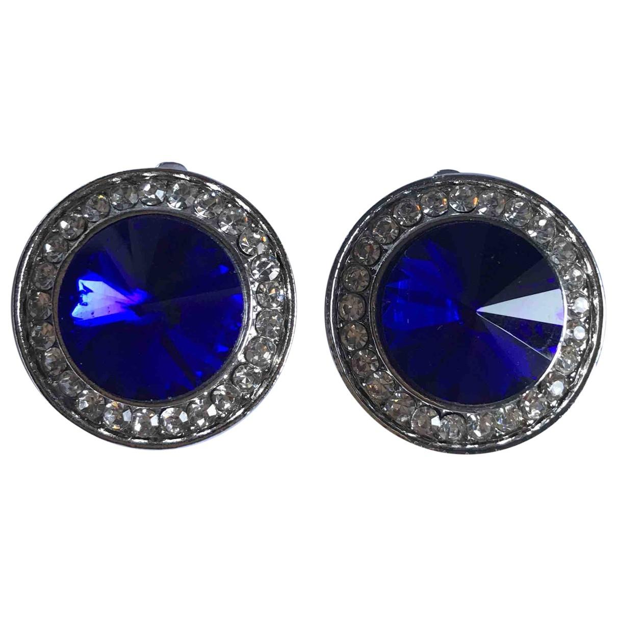 Non Signe / Unsigned Art Deco OhrRing in  Blau Metall