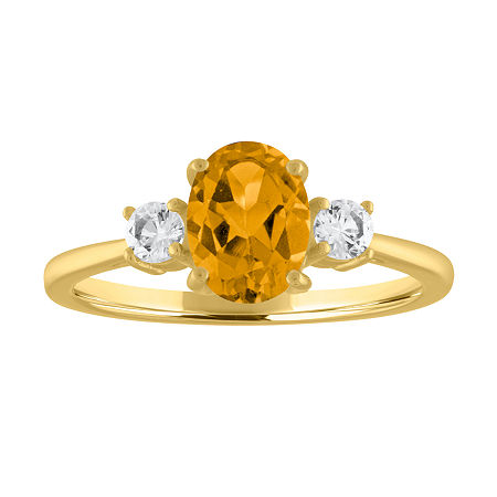 Womens Genuine Yellow Citrine 10K Gold Cocktail Ring, 8 , No Color Family