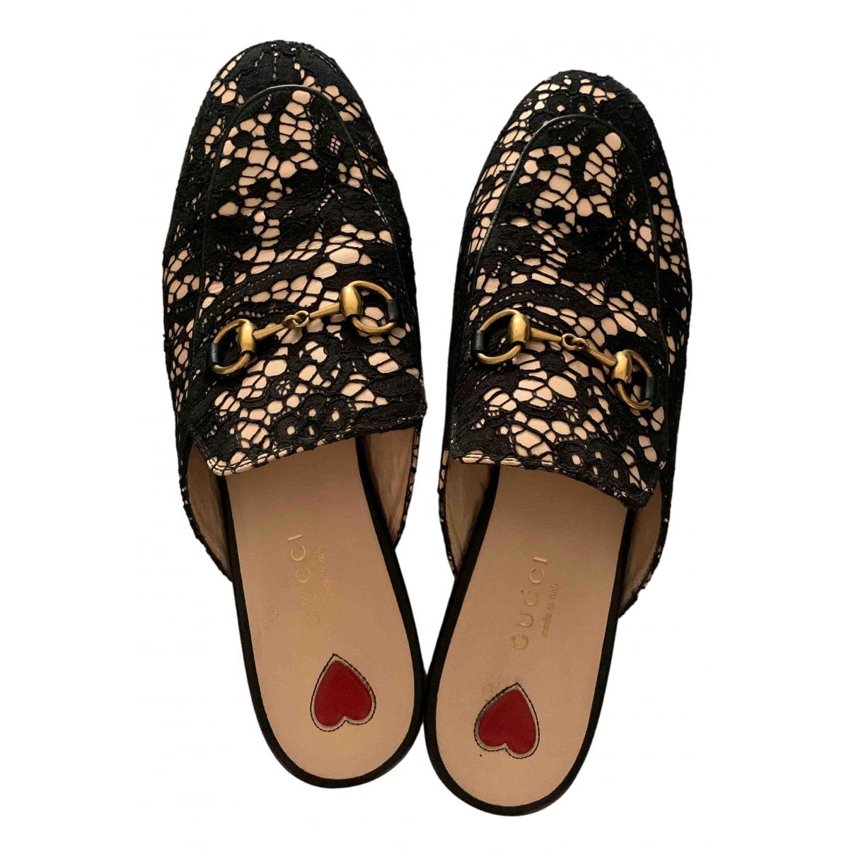 Gucci Princetown Black Fur Flats for Women 37.5 EU