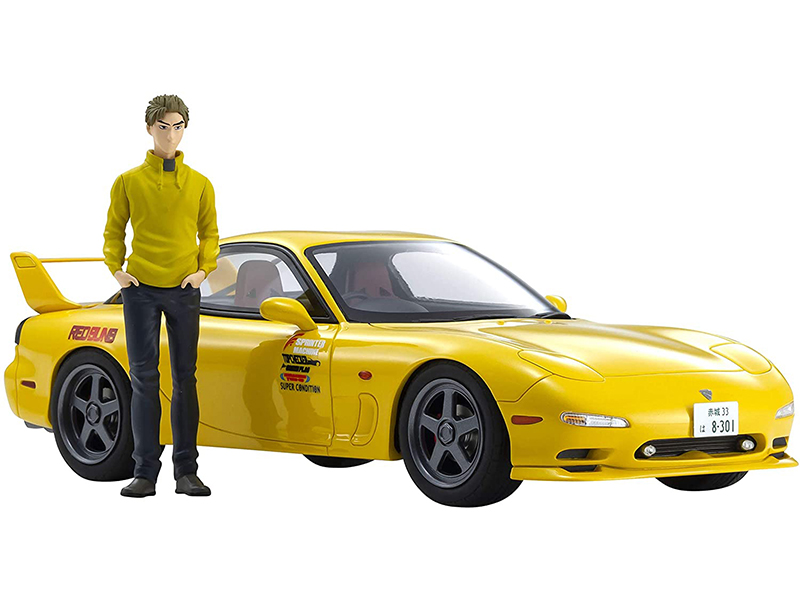 Mazda RX-7 (FD3S) RHD (Right Hand Drive) Yellow with Keisuke Takahashi Figurine